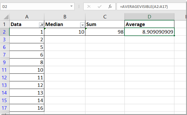 doc calculate median in visible cells 4