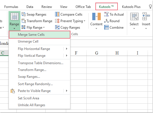 How to quickly merge adjacent rows with same data in Excel?