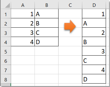 doc merge two columns into one with alternating value 1