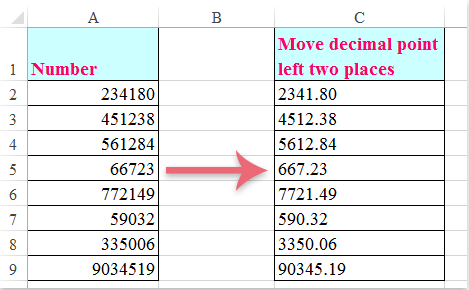 How to move the decimal point to left in Excel?