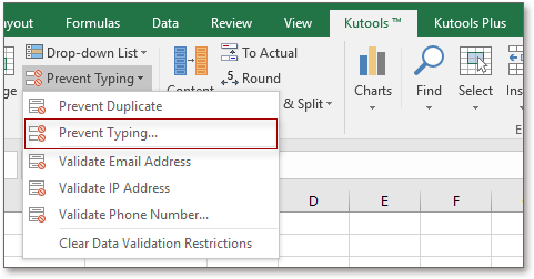 doc kutools prevent typing 1