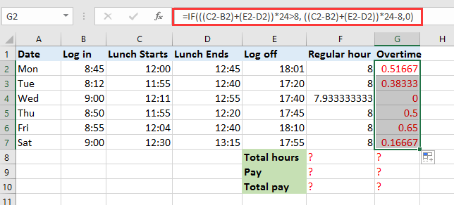 Overtime And Payment In Excel