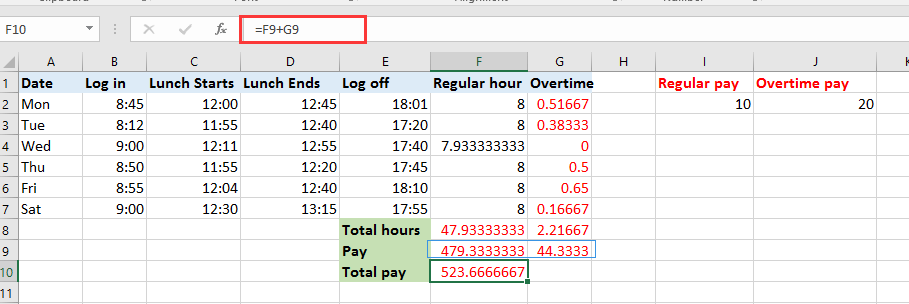 How to quickly calculate the overtime and payment in Excel?
