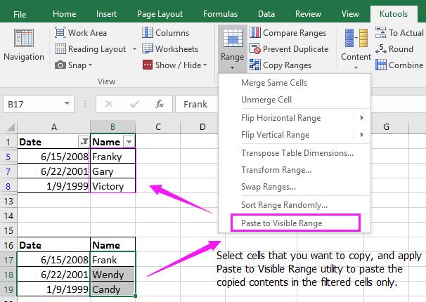 Herramienta de complemento de Excel para pegar datos en celdas filtradas e ignorar celdas ocultas