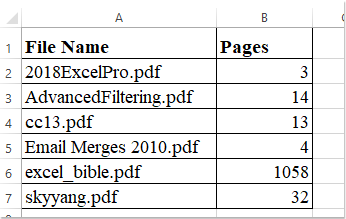 How to count the page numbers of Pdf files in Excel?