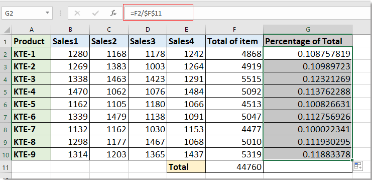 How to calculate item percentage of total in Excel?