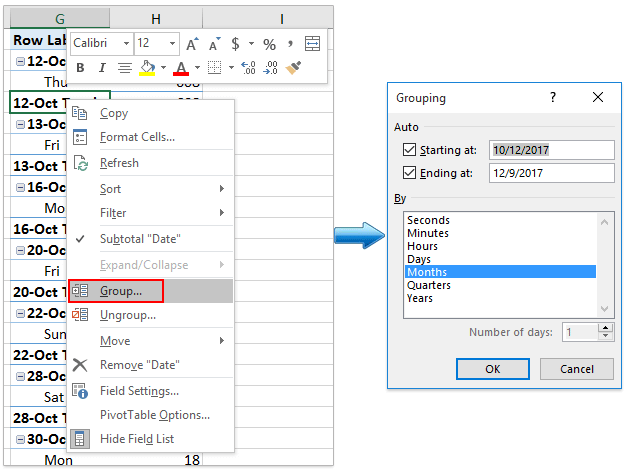 How to group a pivot table by day of week in Excel?