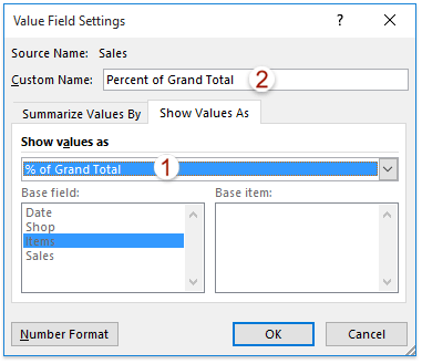 How to add percentage of grand total/subtotal column in an