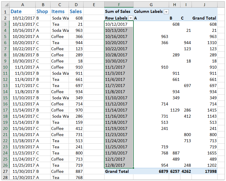 How to ungroup dates in an Excel pivot table?