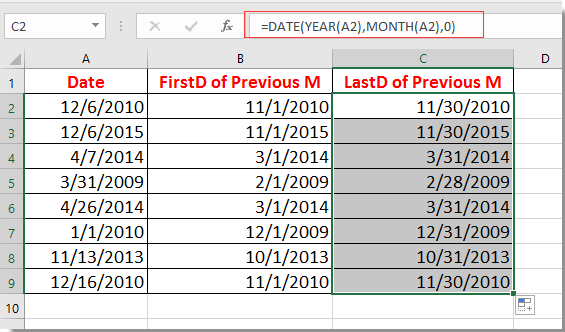 How to show first or last day of previous month based on