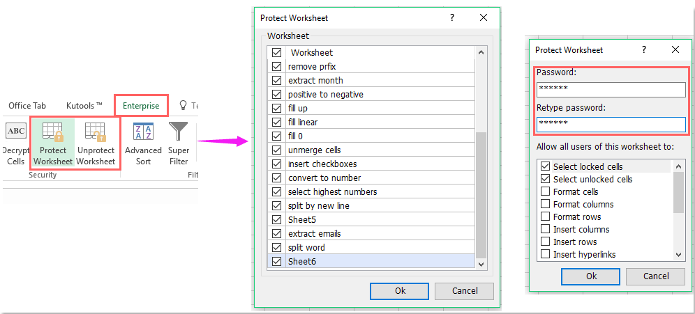 How to set password to protect hidden sheet in Excel?