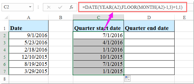 How to calculate quarter start date or end date based on a