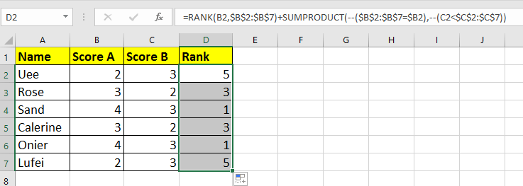 doc rank based on two columns 2