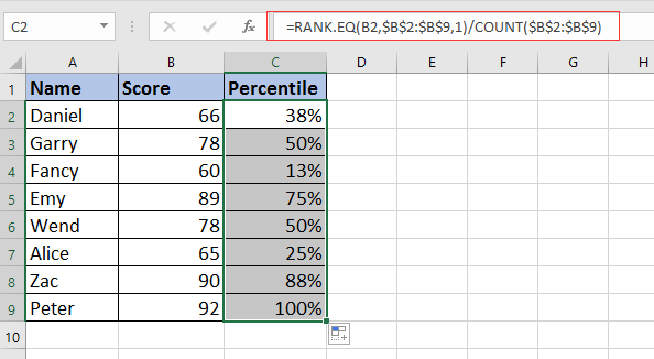 How to calculate rank percentile of a list in Excel?