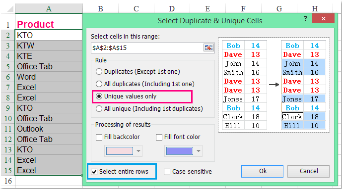 doc remove all but duplicates 11 11