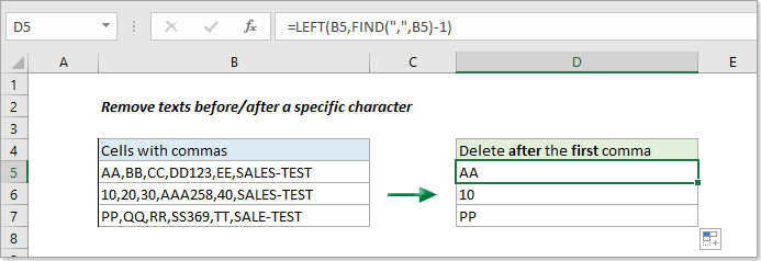 How to remove text before or after a specific character from cells