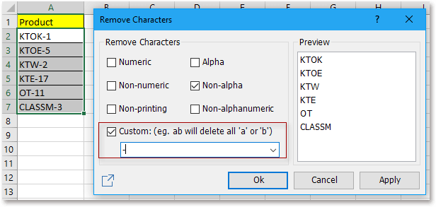 doc kutools remove characters 2