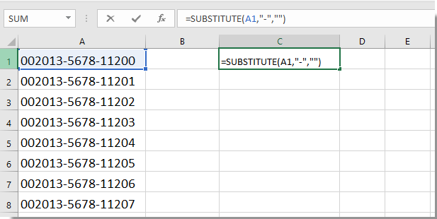 How to quickly remove dashes from cells in Excel?