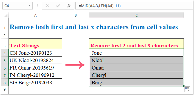 doc remove first x characters 12