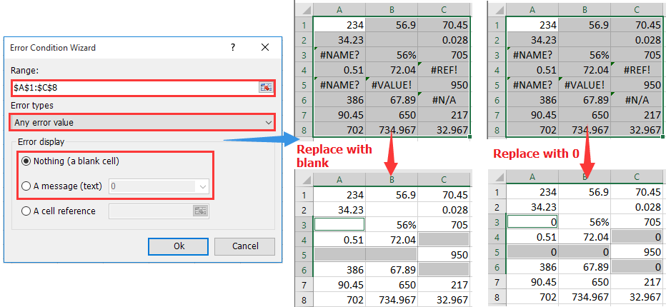 How to replace # formula errors with 0, blank or certain