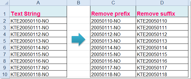 How to remove prefix / suffix from multiple cells in Excel?