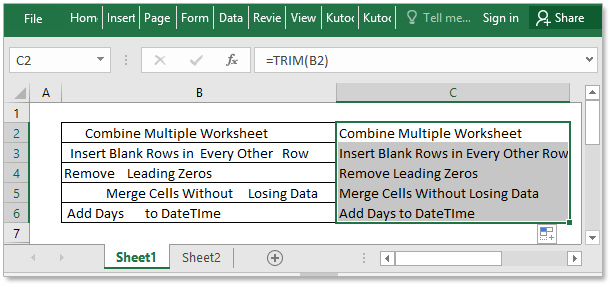 How to remove leading and trailing spaces in Excel cells?