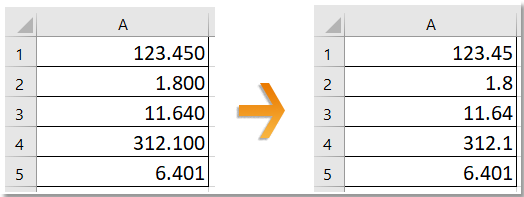 How to remove trailing zeros from number in Excel?