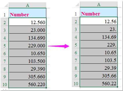 doc remove decimal zeros 4