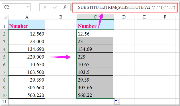 doc remove decimal zeros 5