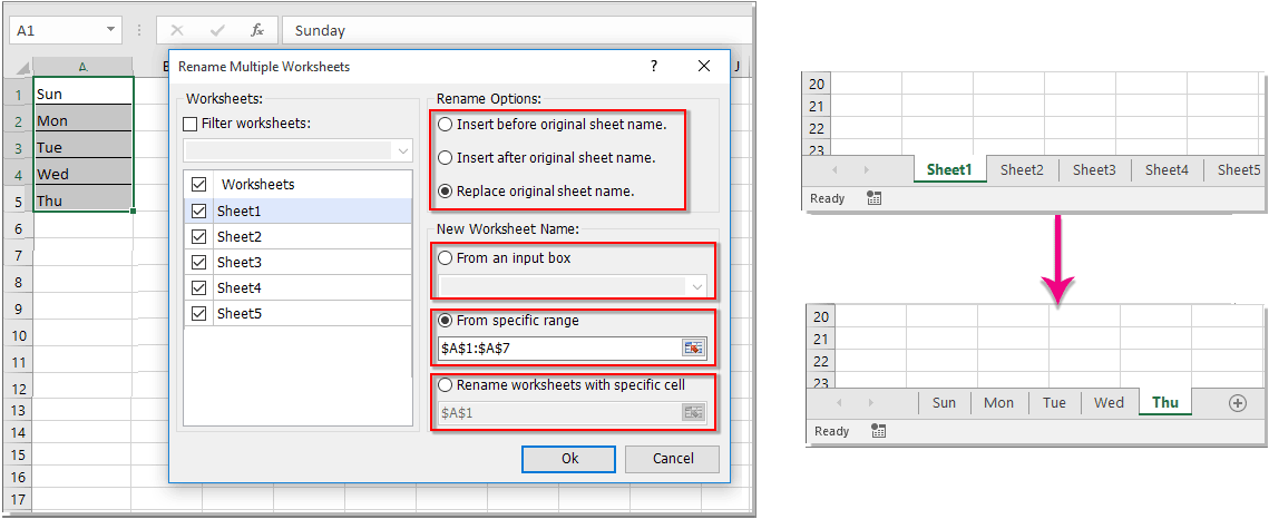How to rename multiple worksheets in Excel?