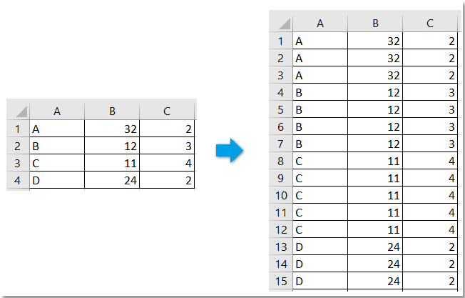 doc repeat rows based on column 1