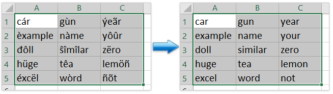 How to replace accented characters with regular characters in Excel?
