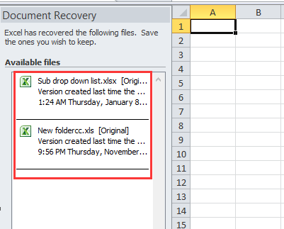 How to restore unsaved file in Excel?