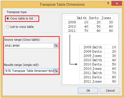 excel add-in tool for change 2d table to 1d