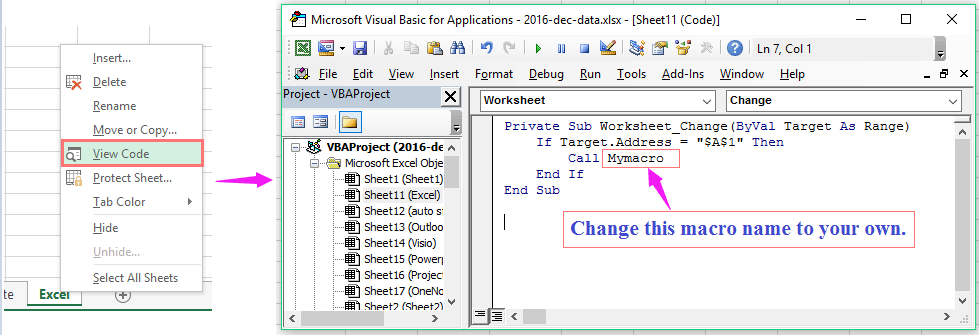 How to run macro when cell value changes in Excel?
