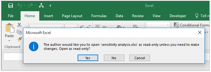 make excel file read only using vba