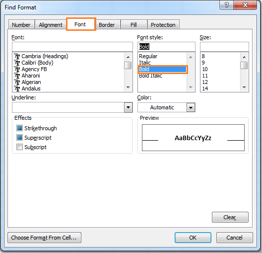 How to identify and select all bold cells or text in Excel?