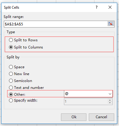 How to separate email addresses to username and domain in Excel?