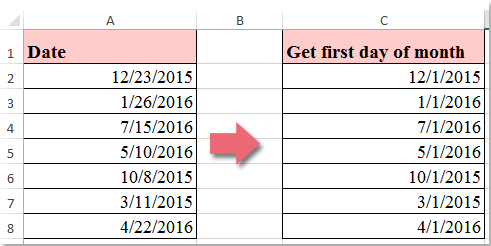 how to set date to first of month in excel