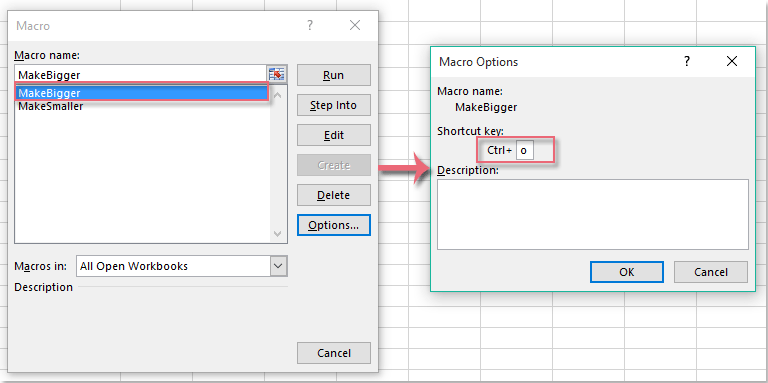 How to increase or decrease the font size with shortcut key