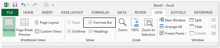 insert formula bar in excel mac