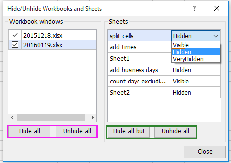 excel add in tools for Hiding and showing multiple sheets