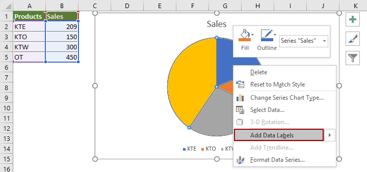 How to show percentage in pie chart in Excel?