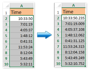 How to show time with milliseconds in Excel?