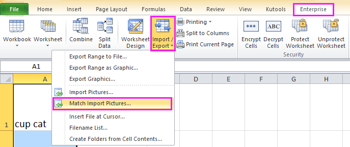 excel add-ins for import pictures based on correspoding cells