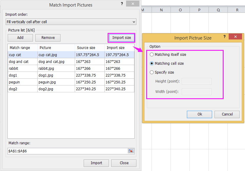 excel add-ins tool for change imported pictures size