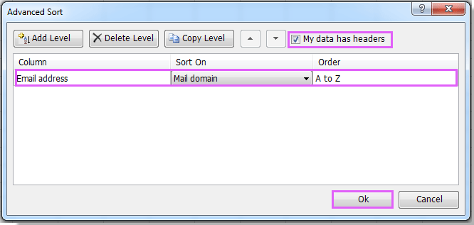 How to sort email address by domain in Excel?