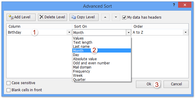 Excel addin: sort by text length, last name, absolute value, mail domain, frequency, week, etc.