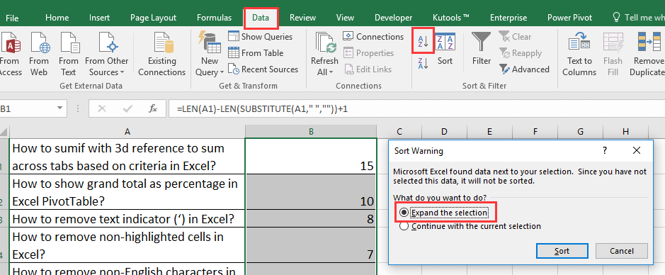doc sort by word count 2