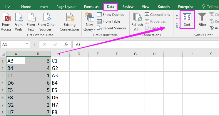 how to quickly sort rows to match another column in excel. Black Bedroom Furniture Sets. Home Design Ideas
